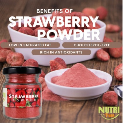 NutriPure Strawberry Powder (50g) Natural Flavouring & Colouring Nutrition Healthy Cook Bake Ingredient